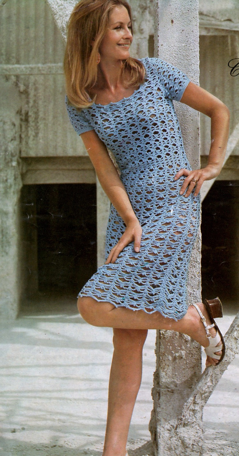 Crochet Dress : Vintage crochet Dress Pattern by direct download PDF file