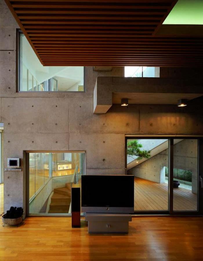 Korean house design with wooden floor design