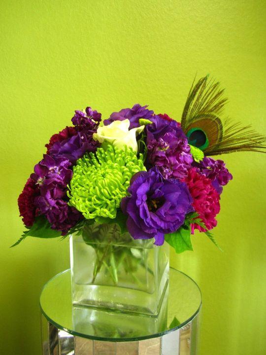 Bernardo s flowers peacock feather wedding centerpieces