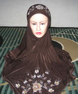 jilbab spandex coklat