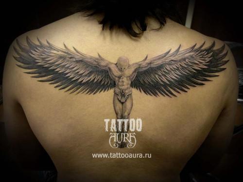 Тату ангелы крылья на спине