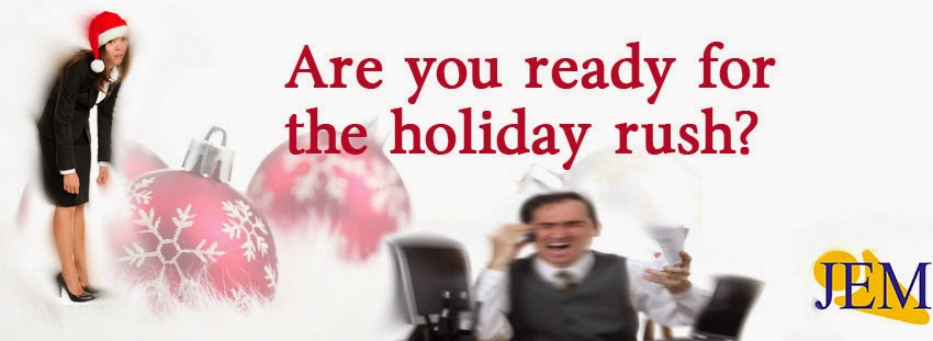 Image showcasing how businesses can be stressed due the influx of demands over the holiday season.