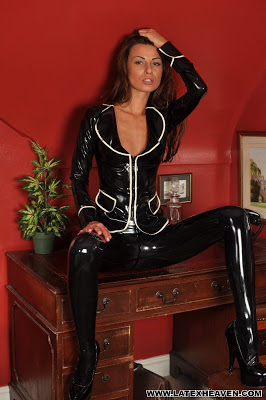 Marta in Tight Shiny Latex Posing Legs Open