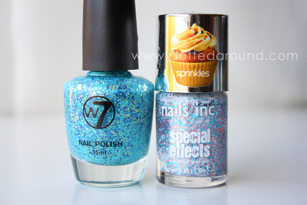 W7 Mosaic polish sprinkles Nails Inc