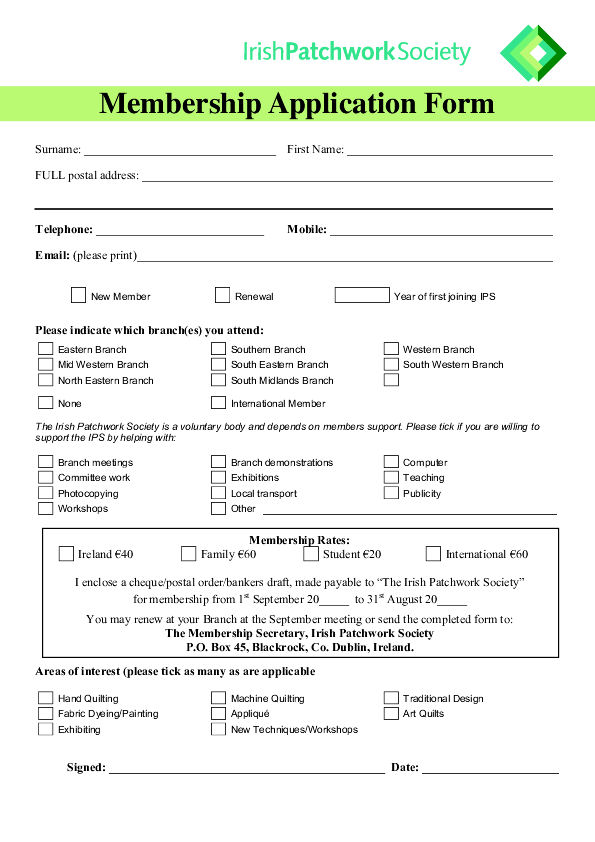 club membership form template pdf