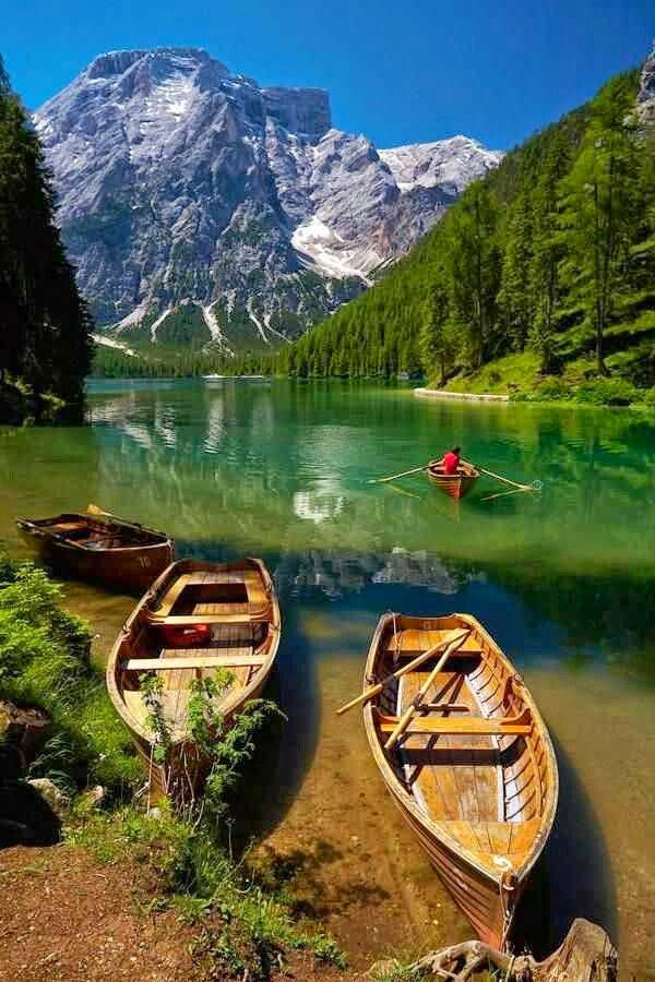 The Pragser Wildsee, or Lake Prags, Lake Braies, Italy