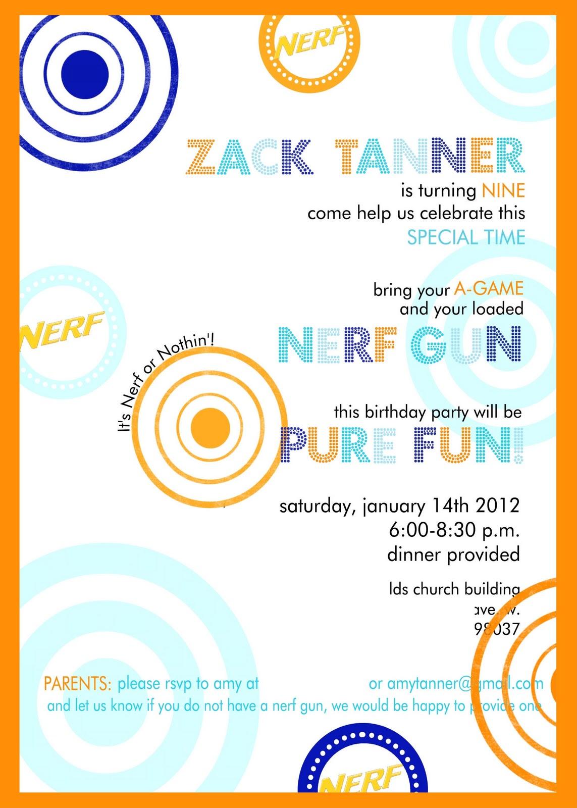 zack 39 s 9th nerf gun birthday party. Black Bedroom Furniture Sets. Home Design Ideas