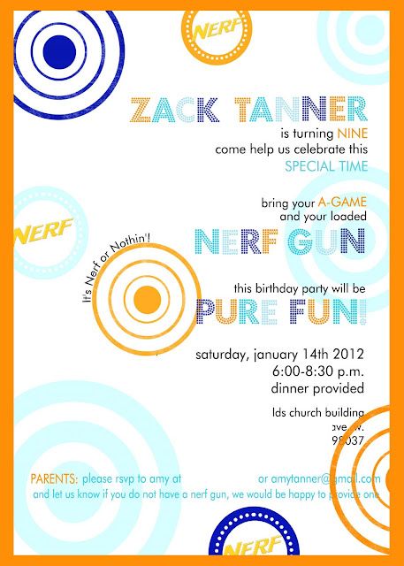 Zacks 9th Nerf Gun Birthday Party – Nerf Gun Birthday Party Invitations