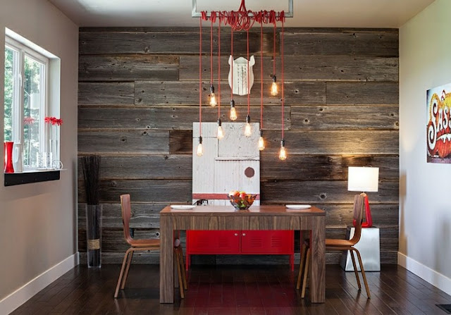 red dining room set