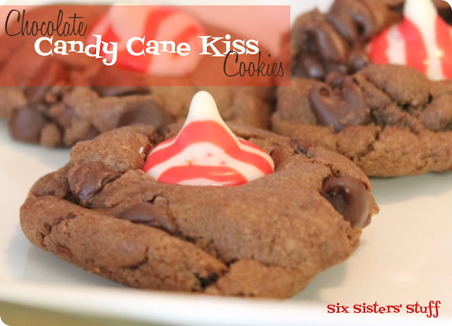 Chocolate Candy Cane Kiss Cookies | Six Sisters' Stuff