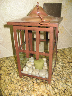 Beach Wedding Table Centerpiece - lantern with stones and candle