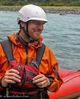 Chris Baer smile smirk blue river raft wrsi helmet kokatat pfd, WhereIsBaer.com