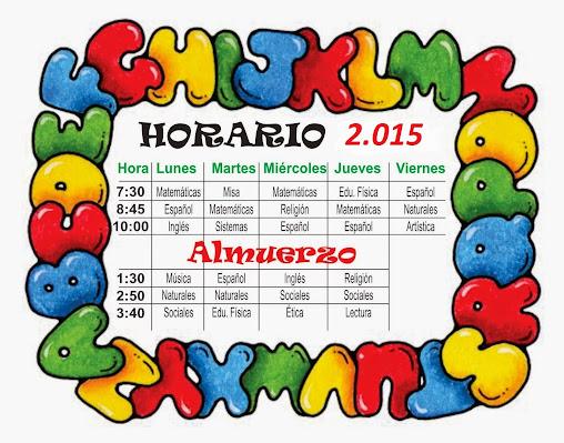 HORARIO DE CLASES  GRADO  1°A    LANS  AÑO  2015