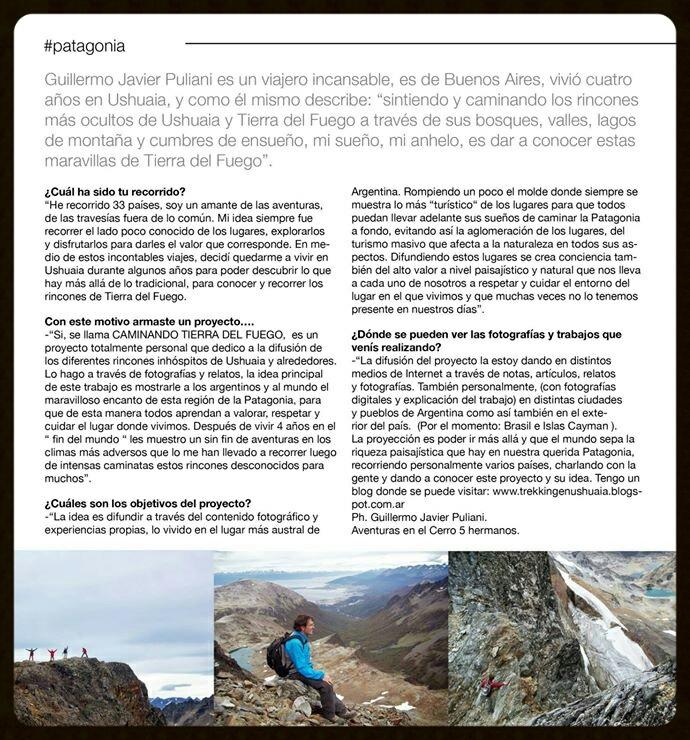 Caminando Tierra del Fuego en los medios