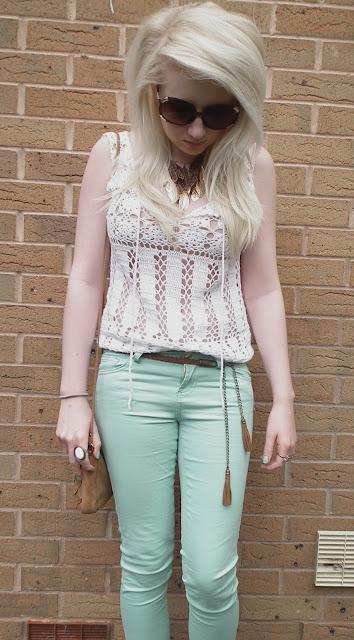 Sammi Jackson - crochet top & mint