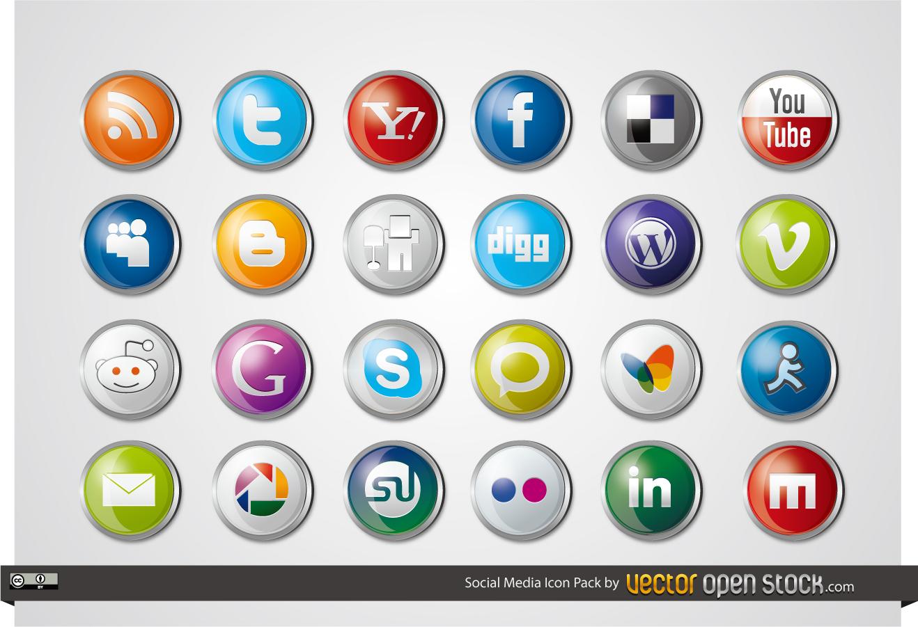 丸ボタン デザインのソーシャルメディア アイコン Social Media Icon Pack イラスト素材