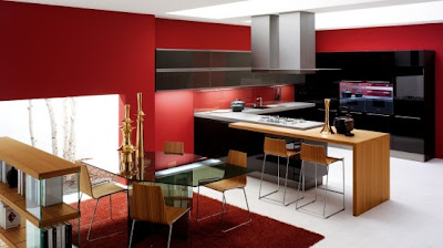 modern kitchen design and decorating - red walls