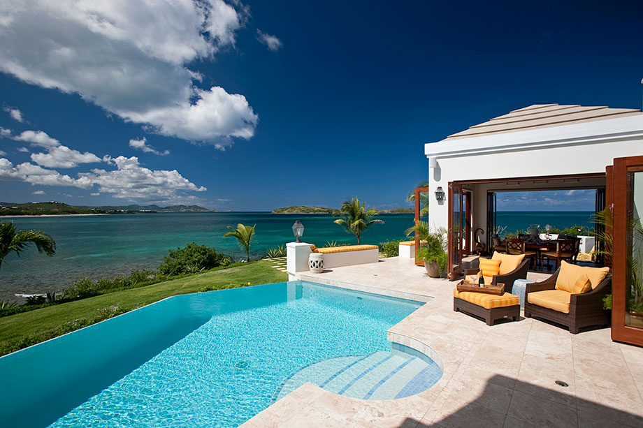 Serene caribbean rental villa interior decorating home for Pool design for villa
