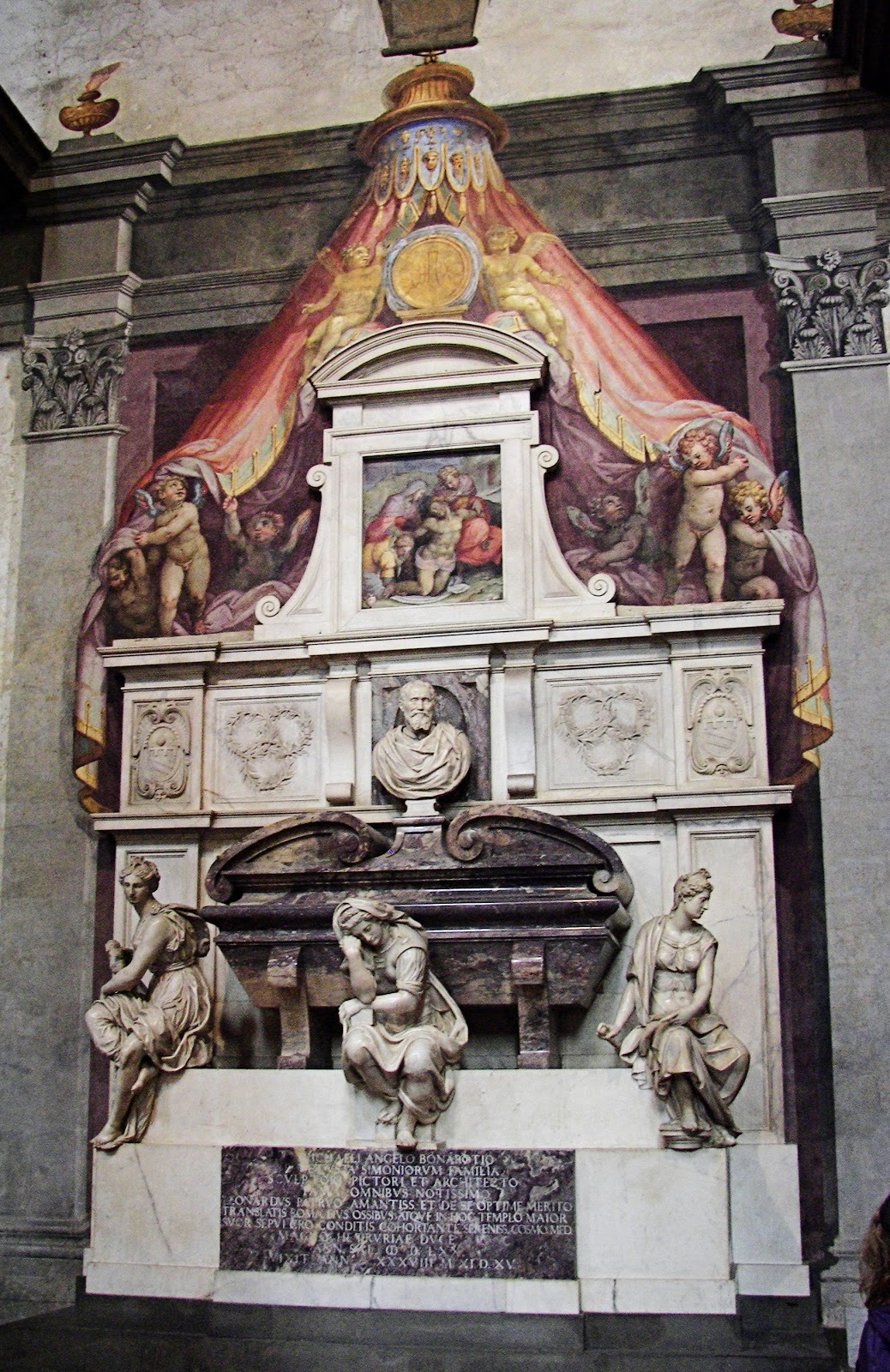 Michelangelo's tomb inside Santa Croce in Florence, Italy.