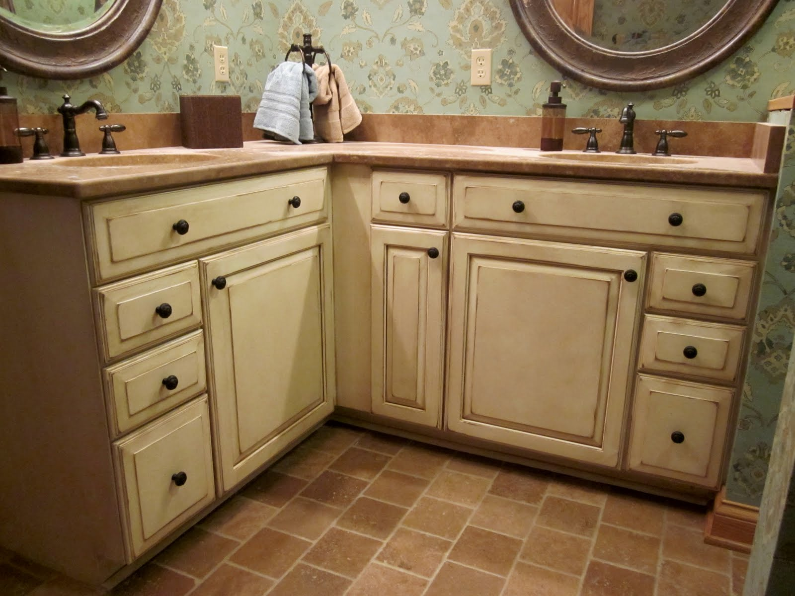 Cream Distressed Kitchen Cabinets
