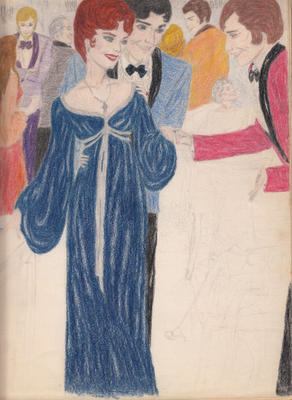 social scene, undated sketch by Mary Ann Corsino Lantos