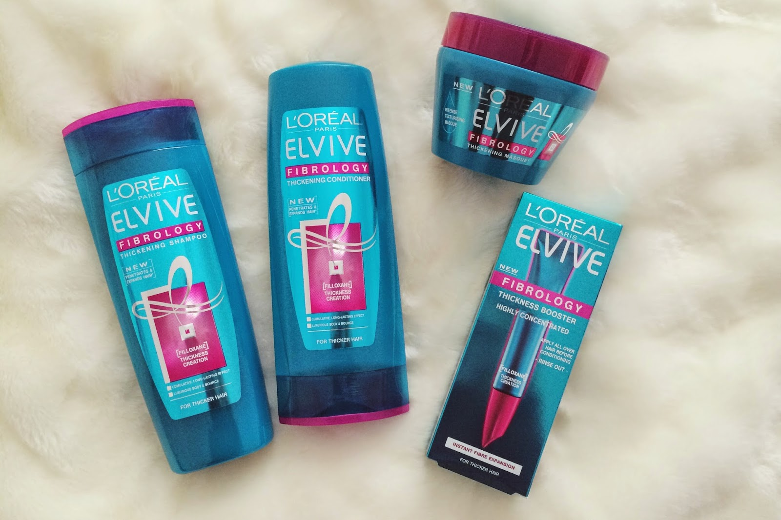 FashionFake, a UK fashion and lifestyle blog. L'Oreal Elvive Fibrology review, does the L'Oreal Elvive Fibrology mask and serum make a difference to hair thickness?