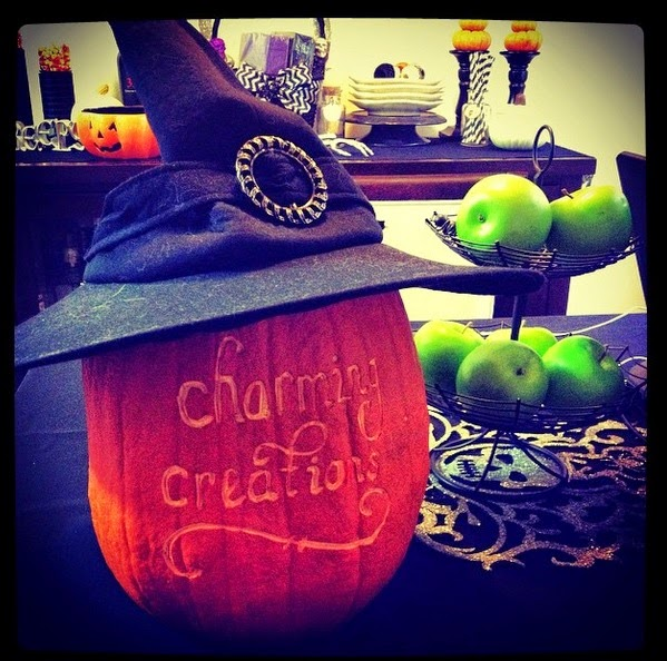 Charming creations wine glasses candles and pumpkins oh my - Charming halloween decoration using love pumpkin carving ...