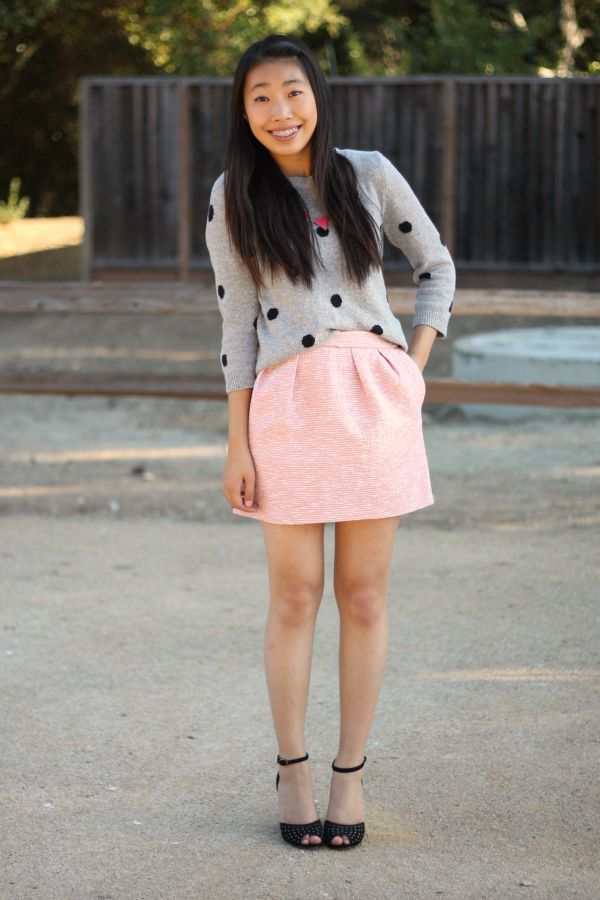 polka dot sweater, zara skirt, neon pink statement necklace outfit