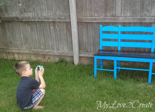 MyLove2Create, Old Chairs into New Bench helping mom take pictures