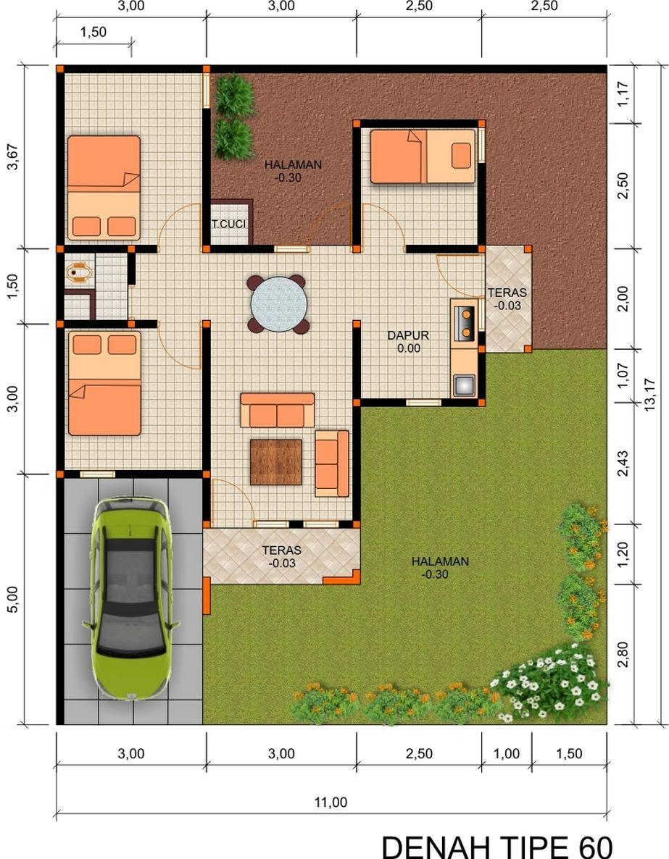 contoh denah rumah mewah minimalis idaman