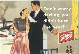 "Shlitz malt liquor beer ad from 1950s, ""Don't worry you didn't burn the Beer"""