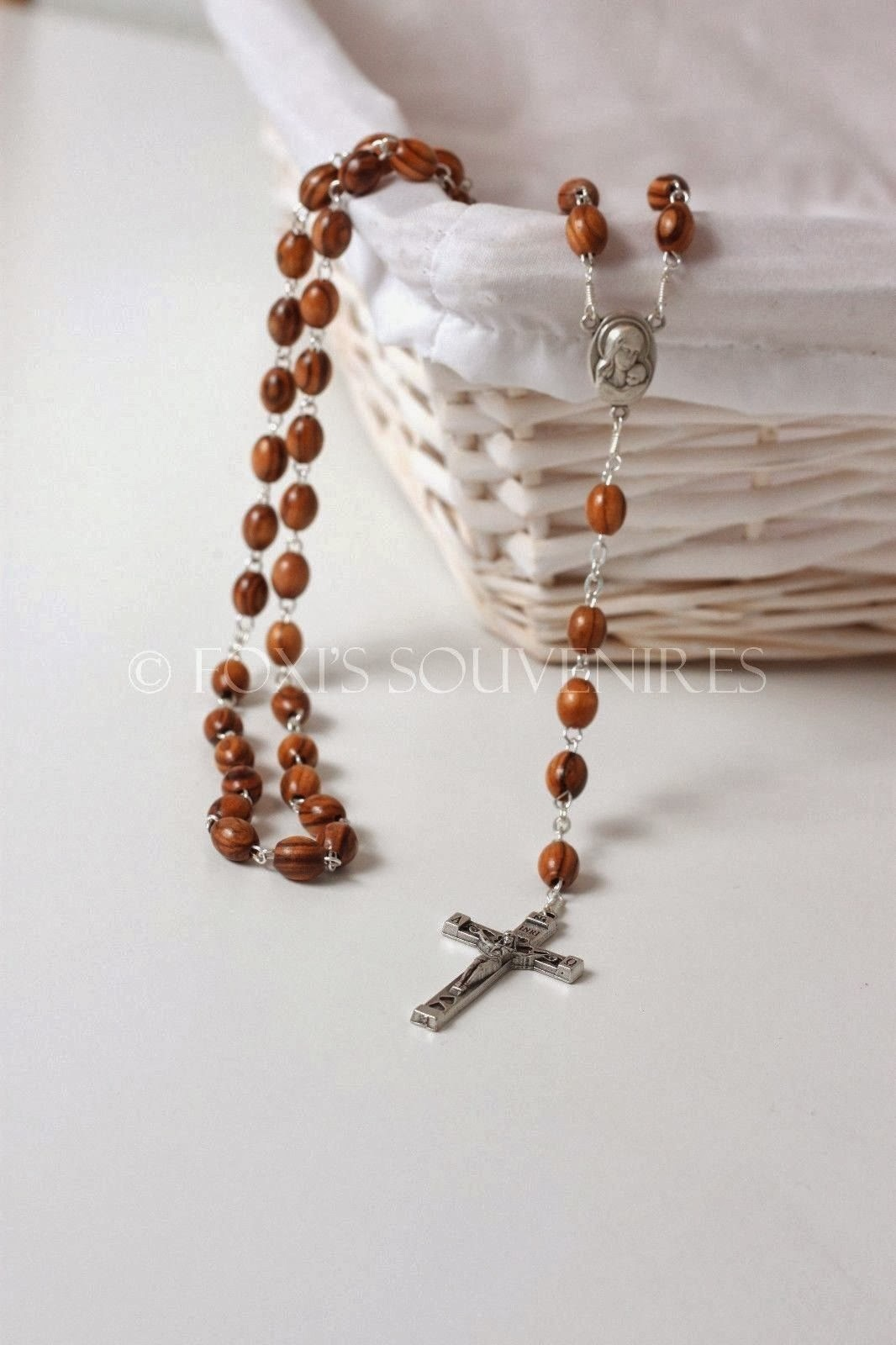 Bethlehem Olive Wood hand made Beads Rosary Chaplet Crucifix