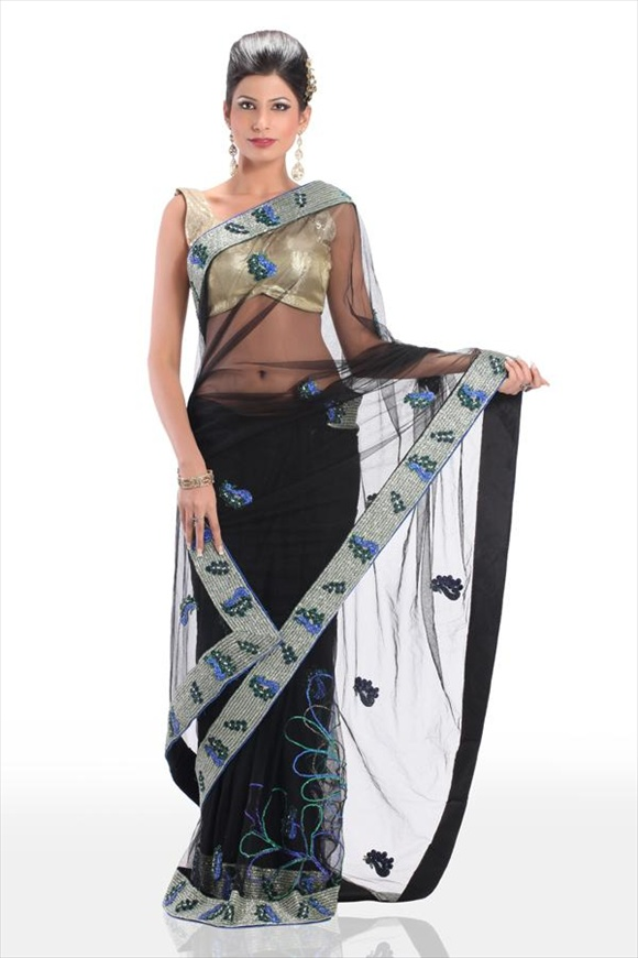 latest Black Net Saree