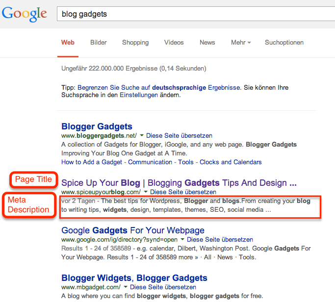 Page Title & Meta Description in the Google SERP