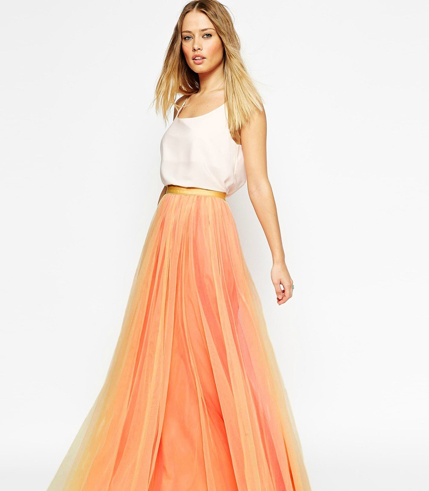skirt tuille orange asos