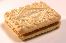 Custard cream biscuit.
