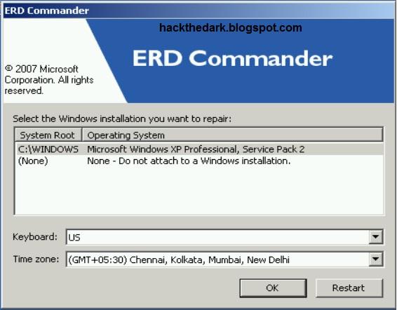 Для этого зайдите в меню Пуск (Start) - Command Prompt (в ERD Commander для