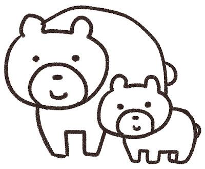熊の親子のイラスト(動物) 白黒線画