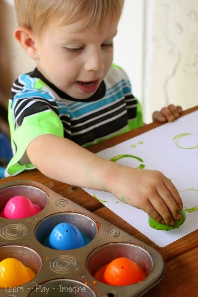 Simple toddler art activity - print making with plastic Easter eggs