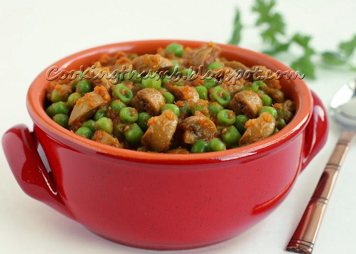 Mushroom Green Peas Curry, Mushroom Matar