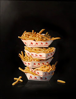 realistic painting of in-n-out french fries by jeanne vadeboncoeur