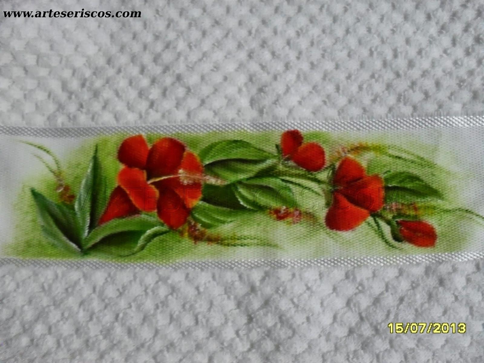 Artes e Riscos: Toalha de Mão: Flores Vermelhas #7C1808 1600x1200