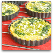 Spinacha and Feta Quiche with Asparagus Pesto
