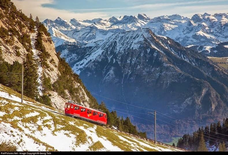 The World's Steepest Cogwheel Railway at Mount Pilatus