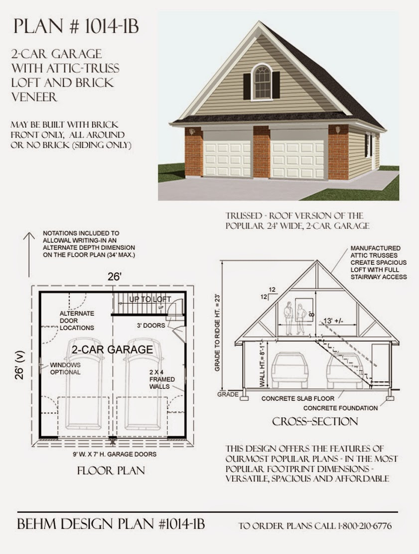 Garage plans blog behm design garage plan examples for Two car garage with loft