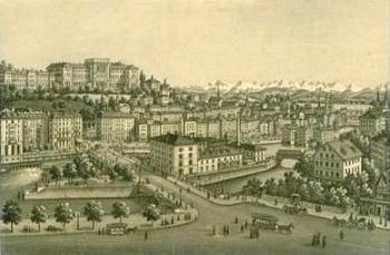 Zürich um 1850 - Johann-Rudolf Dikenmann: Zürich Bahnhofsbrücke