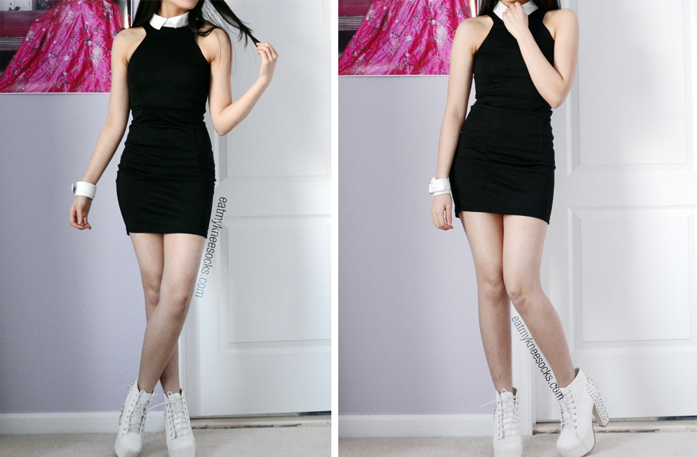 Full body photos in the black bodycon dress with a folded white collar, from SheInside.