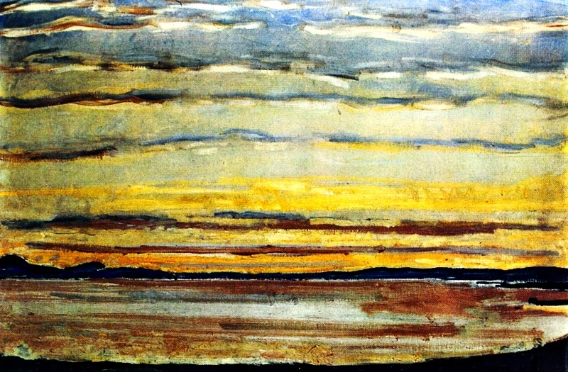 Ferdinand Hodler: Sonnenuntergang am Genfer See. 1915