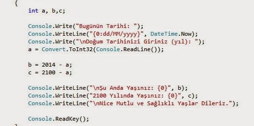 C# ile Yaş hesaplayan programın kodları