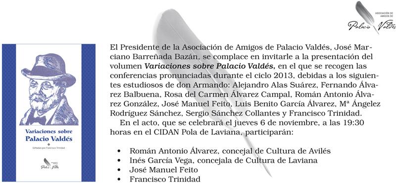 Invitación presentación del libro Variaciones sobre Palacio Valdés